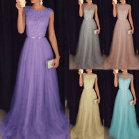 Womens Evening Formal Party Ladies Bridesmaid Lace Maxi Dress Prom Long Gown UK