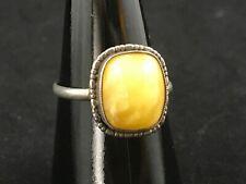 Vintage 925 sterling silver egg yolk amber ring, size N