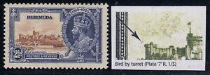 "Bermuda, SG 96m, MHR (small pencil on gum) ""Bird by Turret"" variety"