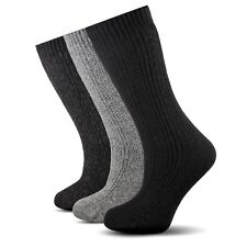 Pure Naturel Merino Wool Women Black/Gray/Dark Gray Winter Socks- 3 Pairs Pack