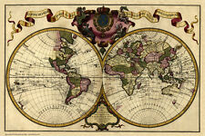 More details for old map of the world in 1720 by guillaume delisle - repro, vintage, historical