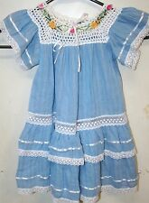 r- CLOTHES CHILDS SZ 3 DRESS 100% COTTON PEASANT TYPE RIBBON EMBROIDERY GORGEOUS