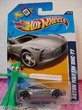 CASE P 2012 Hot Wheels ASTON MARTIN ONE-77 #123/247 Scan ∞New Met GRAY∞