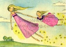 ACEO PRINT - Magic - mother, daughter, flying, magic, landscape, fantasy, stars