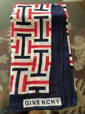 1970's Vintage Givenchy Scarf - Pocket Square - Red - White & Blue - Never Used