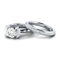 Certified 3.00ct White Round Diamond 14K White Gold Solitaire & Accents Ring Set