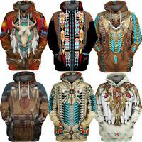 Dress Men Print Casual Indian Pullover Sweatshirt Shirt 3D Sweater Hoodie Hooded