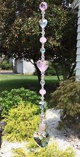 Handmade Pink/Clear Crystal Heart Suncatcher/Prism W/Swarovski Elements USA