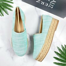NIB Naturalizer Thea 3 Platform Espadrille Slip On Loafers Turquoise Linen 8W