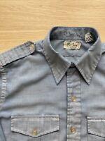 L.L. BEAN Long Sleeve CHAMBRAY Shirt Vtg Sanforized Men's Sz 16 Medium/Large USA