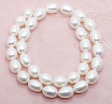 "Genuine 8-9mm Natural White Freshwater Pearl Rice Beads Strand 14.5"" PL230"