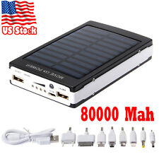 Waterproof Dual USB 80000mAh Solar Power Bank Battery Charger For iPhone Samsung
