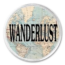 "Wanderlust - 3"" Sew / Iron On Patch Map World Globe Travel Love Gift Present"
