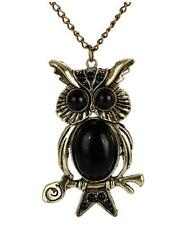 Retro Vintage Black Owl Pendant Long Necklace UK Seller