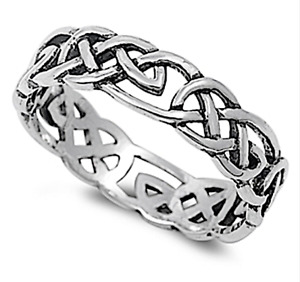 925 STERLING SILVER CELTIC DESIGN CONTINUOUS KNOT FINGER THUMB RING 5mm Wide