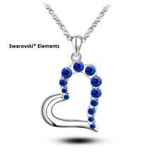 Collier chaîne pendentif coeur plaqué argent + ALLIAGE Swarovski® Elements  BLEU