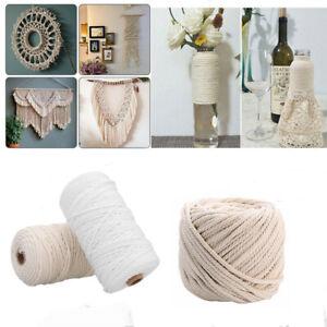1/2/3/5/6mm 100% Natural Cotton Twisted Cord Craft Macrame Artisan String 200m