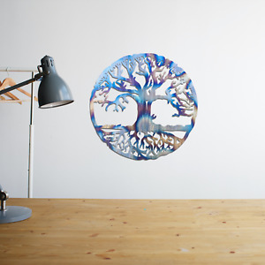 058 Beautiful Tree of Life Round Steel Flame Painted Hanging Wall Art Decoration