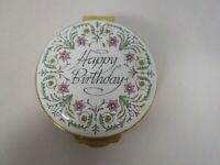 MADE IN ENGLAND BY CRUMMLES ENAMEL ROUND HAPPY BIRTHDAY ROSE INSIDE TRINKET BOX
