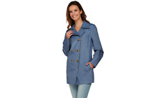 Dennis Basso Water Resistant Denim Print Trench Coat pick size color