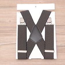 MEN'S 50mm Extra Wide Adjustable Elastic Mens Suspenders Clip-On Braces Trouser