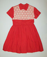 Great Old vtg 1950s Girls Dress NOS Red White Peter Pan Collar Size 9 Deadstock