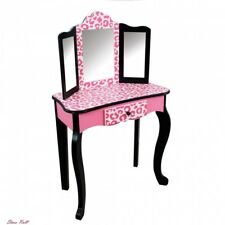 Small Vanity Table Black Pink Kids Wooden Trifold Toddler Children Furniture NEW