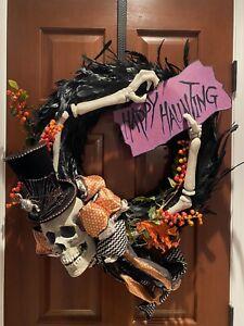 Grandin Road Skeleton Happy Haunting Wreath Decor