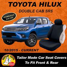 CANVAS Car Seat Covers Custom Toyota Hilux SR SR5 Black 2015-Current Airbag Safe