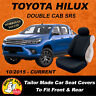 CANVAS Car Seat Covers Custom Toyota Hilux SR SR5 Black 2015-Current Airbag Safe