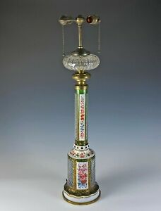Large Antique Moser Bohemian Cut Overlay Glass Lamp