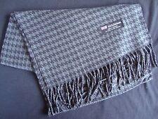 100% Cashmere Winter Scarf Scarve Scotland Warm Houndstooth Gray Black Shawl