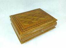 XXL Wooden Box/Casket England Um 1900 Stroheinlegearbeit