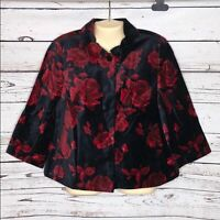 Talbots NWT 12P Black & Red Rose Print Velvet Swing Jacket Blazer