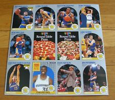 Golden State Warriors 1990 Round Table pizza Uncut Sheet of 12 Cards