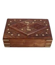 Wooden Handcarved Brass Inlay Multipurpose Box for Jewellery,Crystals Gift Item