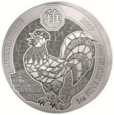 Lunar Jahr des Hahn Year of the Rooster 2017 1 OZ Silber Silver Ruanda Rwanda