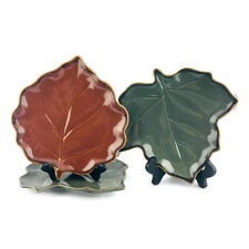 Cindy Crawford Style FAUNA  Green  Brown Leaf Shape Decorative Salad Plate Set 3
