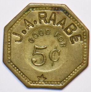 1900 ~70 Lead ville Colorado BR Julius Rache Trade Token Good for 5 Cents 49086