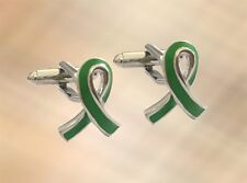 NEW Mens Green Ribbon Cufflinks Cuffs Charity Mental Health Awareness UK Seller