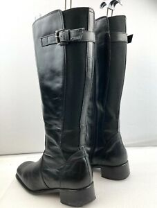 Womens Ladies Clarks size UK 6 (40)  Black Leather Long Boots  Riding Boot Style