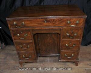 George III Mahogany Knee Hole Desk Bureau Pedestal Desks