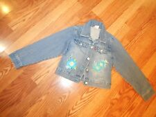 LEVI'S JEANS GIRLS JACKET CLASSIC STYLE FLORAL EMBROIDERY 100% COTTON EUC  SZ 7