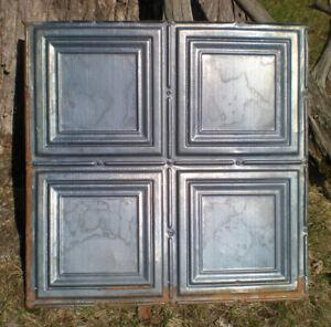 4 Gun Metal Blue Antique Ceiling Tin Tiles Simple Elegant Frame Canvas Chic
