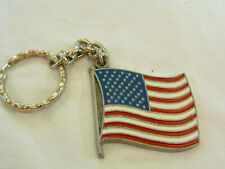 VINTAGE SOLID RAWCLIFFE 1984 PEWTER FLAG, I LOVE MY COUNTRY, KEY CHAIN