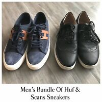 Men's Huf & Scans Lot Of Sneakers Size 10 Leather Suede Canvas Blue Black