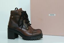 7.5 / 37.5 Miu Miu Brown Leather Never Mind Lace up Ankle Block Heel Boot Shoes