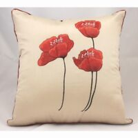 3 RED POPPY / POPPIES FLOWER/ EMBROIDERED CREAM SILK CUSHION COVER  £4.37 EACH