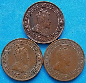 1902 1903 1905  Canada Canadian Large 1 Cent Edward Coins - Lot Of 3
