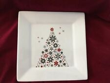 "Food Network HOLIDAY TREE 10.25"" Square Dinner Plate Linzer Red Silver Christmas"